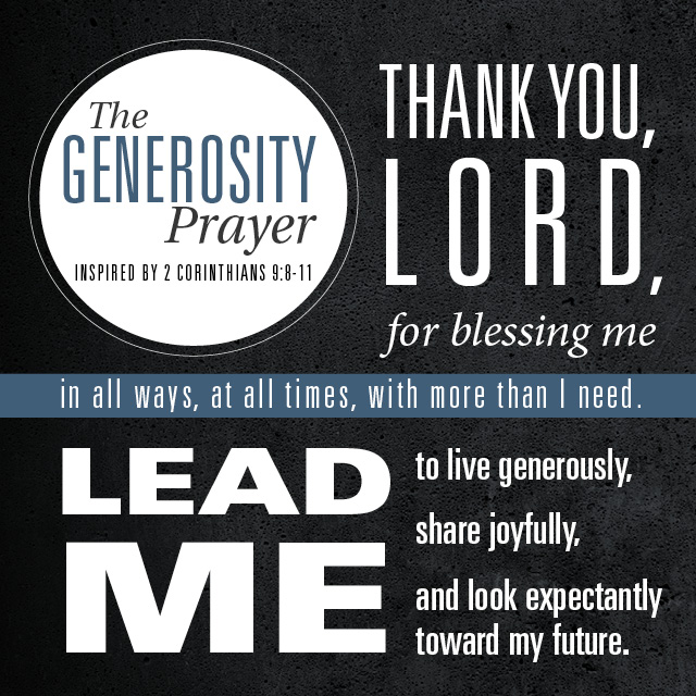 The Power Of The Generosity Prayer The Vision Room